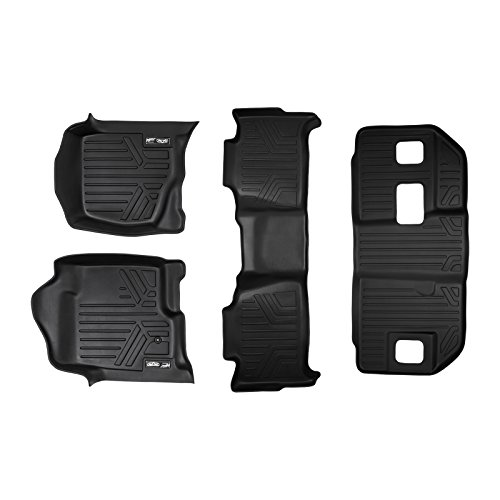 SMARTLINER Floor Mats 3 Row Liner Set Black for 2007-2014 Chevrolet Suburban/GMC Yukon XL and Denali XL