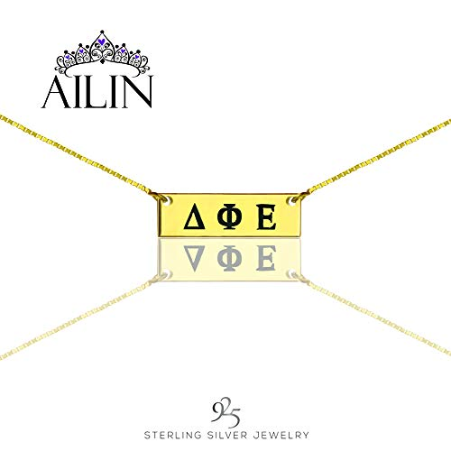 AILIN Custom Sorority Necklace Personalized Bar Necklace Greek Sorority Initial Necklace Name Bar Charm Gold Plated Size 22