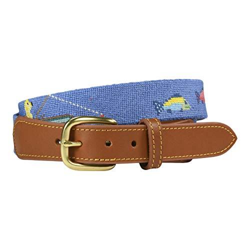 Charleston Belt Dog and Fish Ocean Blue and Tan Needlepoint (38)