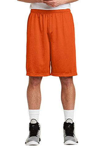 Sport-Tek Men's Long PosiCharge Classic Mesh Short M Deep Orange