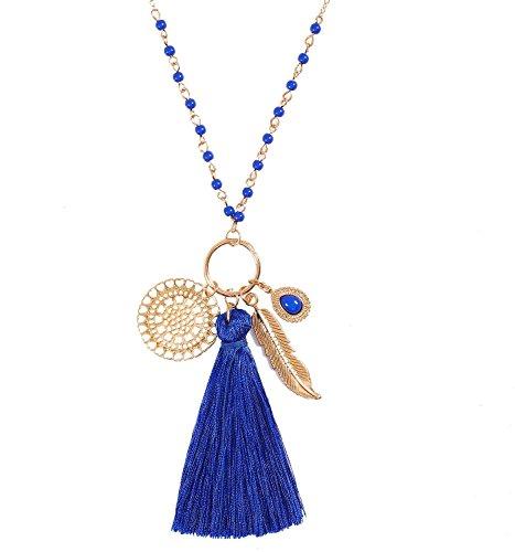 Long Necklaces Bohemia Tassel Leaf Teardrop Disk Circle Pendant necklace For Women Girls Y Shaped Necklace Sets (Royal ()