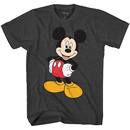 Disney Men's Classic Mickey Mouse Wash T-Shirt (Heather Charcoal,Medium)