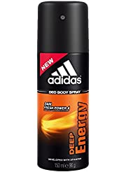 Adidas Deep Energy Deodorant Body Spray for Men, 5 Ounce