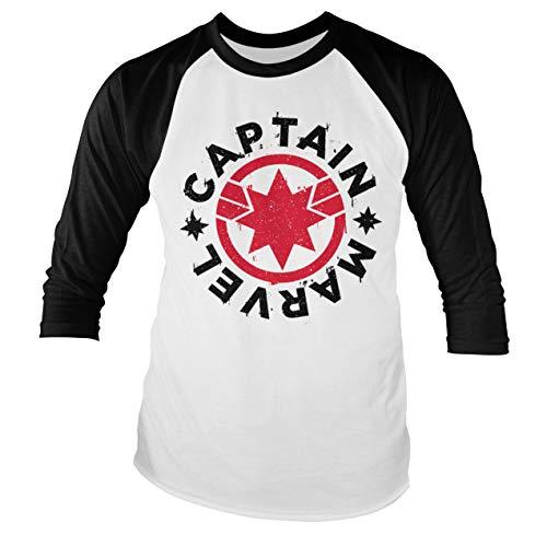 Officially Licensed Captain Marvel Round Shield Baseball (Slim fit) Long Sleeve T-Shirt (White/Black), Small
