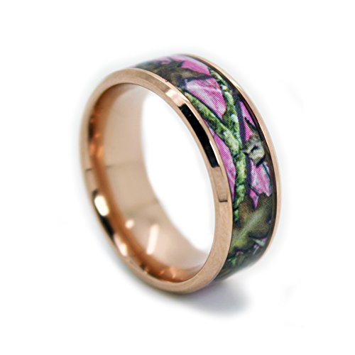#1 Camo Rose Gold Plated Pink Rings - Pink Camouflage Titanium Wedding Band - 8mm Ring Size 9 (Real Tree Wedding Ring Set)