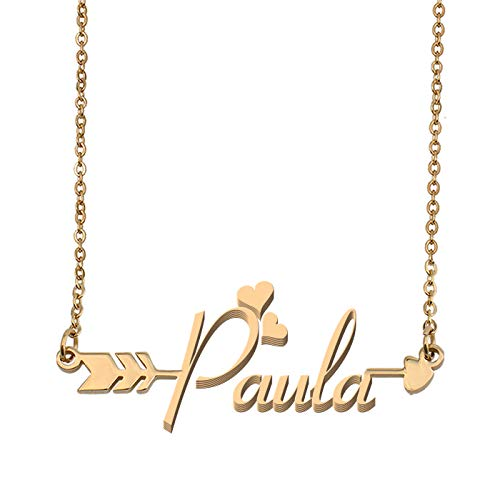 Aoloshow Customized Custom Name Necklace Personalized - Custom Paula Initial Name Arrow Horizontal Monogrammed Necklace Gift for Womens Girls
