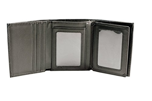Stealth Mode Trifold Men's Leather Wallet with Flip Out ID Window and RFID Blocking (Tri Fold Black Mens Wallets)