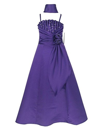 Satin Occasion Pageant Wedding Bridesmaids Girls Dress Purple 6 Years (Pur6001-6#)
