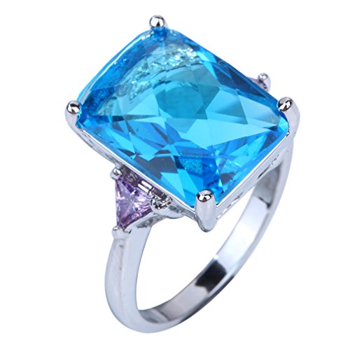 Yazilind 12mm*16mm Emerald Cut Bule Purple Created Topaz Silver Plated Size 7 Ring