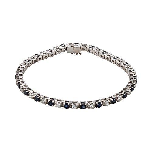 "7.25"" 14K White Gold Blue Sapphire & 2 3/8 CTW Diamond Bracelet"