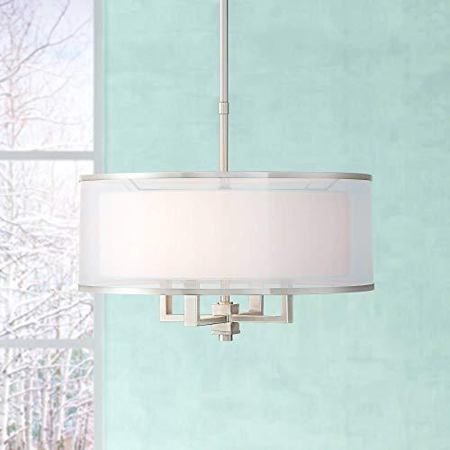 "Price comparison product image Possini Euro Glover 21"" Wide Brushed Nickel 4-Light Pendant - Possini Euro Design"
