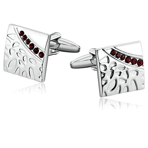 Cobblestone Cascade - Aooaz Jewelry Cufflinks for Men Cobblestone Pattern Suare with CZ Cufflinks Silver Red