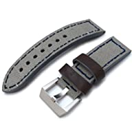 24mm MiLTAT Military Grey Leather Washed Canvas Ammo Watch Strap in Blue Stitches