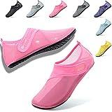 VIFUUR Womens Mens Water Shoes Adjustable Mesh Aqua Socks for Outdoor Swimming Beach Surfing Magic Buckle Pink 38/39