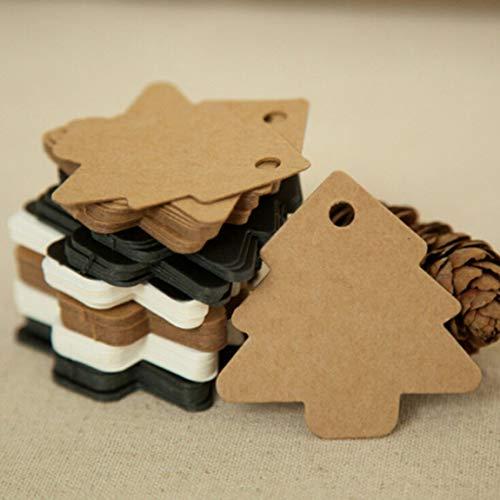 50 piezas diy árbol de navidad elevador Vintage Kraft Paper - Negro