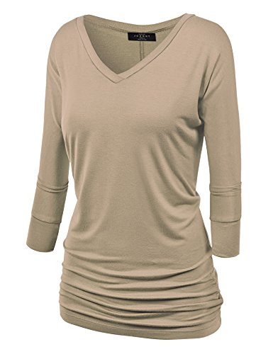 MBJ WT1036 Womens V Neck 3/4 Sleeve Dolman Top with Side Shirring M TAUPE