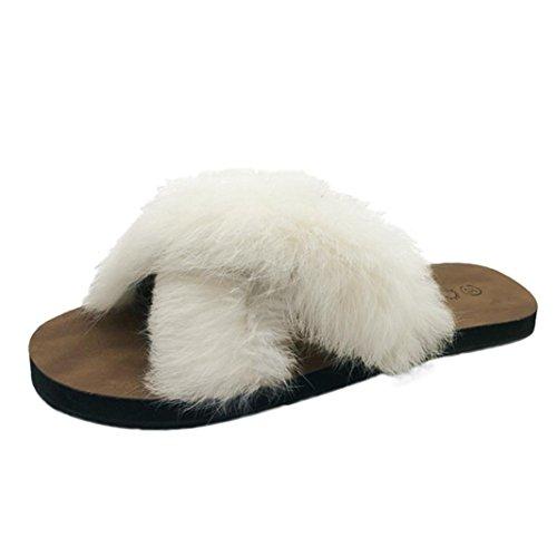 2018 Women Comfort Fluffy Faux Fur Slipper,Indoor Outdoor Flat Heel w/Non Slip Soles Shoes for Indoor & Outdoor Use (Beige, US:7)