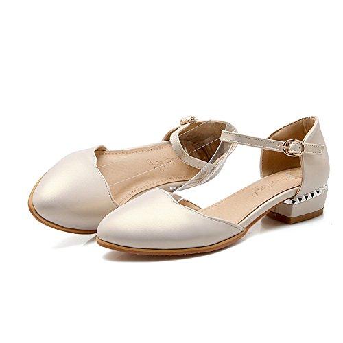 Style Womens Toe 1TO9 Rhinestones Heel Polyurethane Studded Romanesque Sandals Beige Round 4nddBf70q