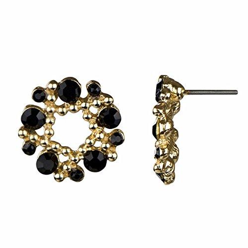 Rhinestone Wreath Cluster Stud Earrings - Black