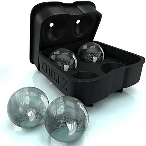 Chillz Ice Ball Maker Mold - Black Flexible Silicone Ice Tray - Molds 4 X 4.5cm Round Ice Ball Spheres