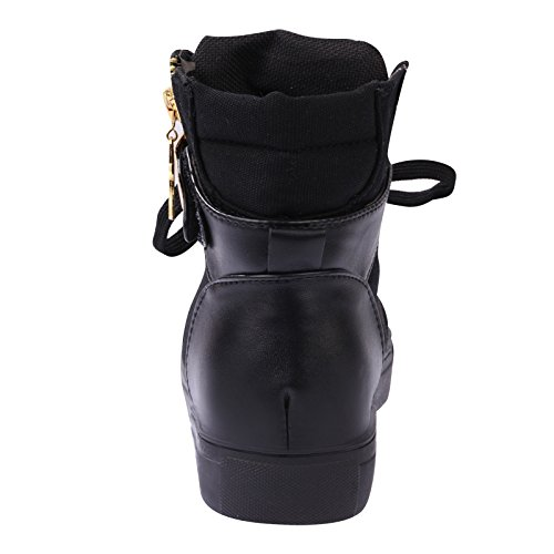 Lace Black Shoes Womens Wedge Sneaker TM High up Top iMaySon Zip Skull Increat w05xZ7Pwq