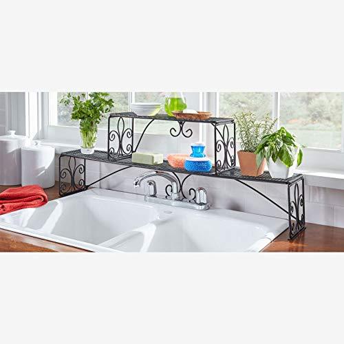 Brylanehome Scroll 2-Tier Over Sink Shelf - Black (Sink Stand)