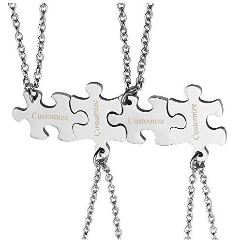 PiercingJ 4PCS Personalized Custom Engraved Puzzle Necklaces Matching Dog Tag Pendant Charm Necklace Set for Best Friend Friendship Couple Box (Charm Tag Dog Silver Pendant)