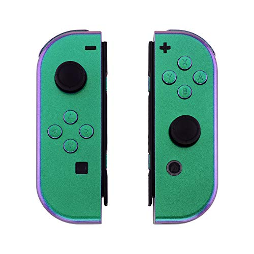 eXtremeRate Chameleon Green Purple Joycon Handheld Controller Housing with Full Set Buttons, DIY Replacement Shell Case for Nintendo Switch Joy-Con - Console Shell NOT Included