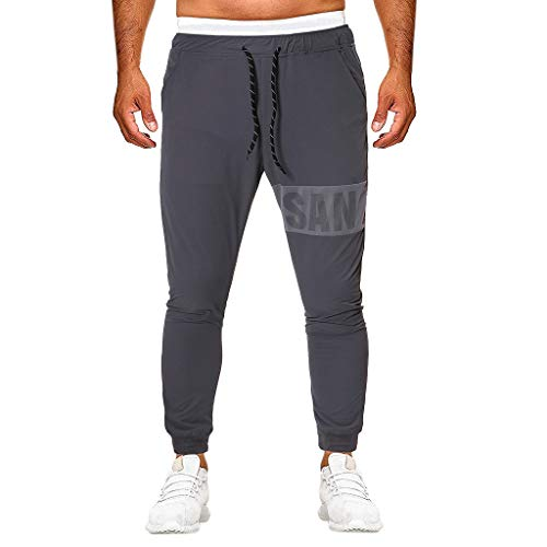 Elastic Waist Tracksuit Pants for Men, Huazi2 Summer Plus Size Sport Trousers Gray
