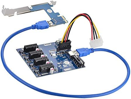 PCI-E 1 to 4 PCI Express 1x Slots Multiplier Card Ethereum Mining Bitcoin Litecoin Miner Rig Cable GPU Riser Adapter