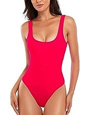 Summer Mae Womens Retro One Piece Swimsuits Low Back High Cut Swimwear Tummy Control Padding Bathing Suit