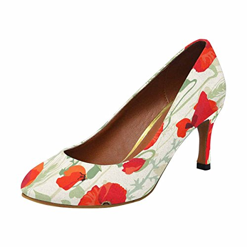 Interestprint Womens Klassiskt Mode Hög Klack Klänning Pump Vallmofält
