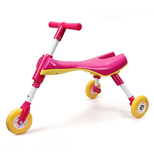 Toy Trike (ChromeWheels Fly Bike for Toddlers,Scooter Bug Foldable Indoor/Outdoor Glide Tricycle Ride On Toy, Color Pink)