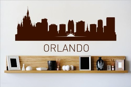 (Vinyl Wall Decal Sticker : Orlando Florida FL Skyline City View Beautiful Scene Landmarks, Buildings & Water Bedroom Bathroom Living Room Picture Art Peel & Stick Mural - Discounted Sale Price Size: : 10 Inches X 36 Inches - 22 Colors Available)
