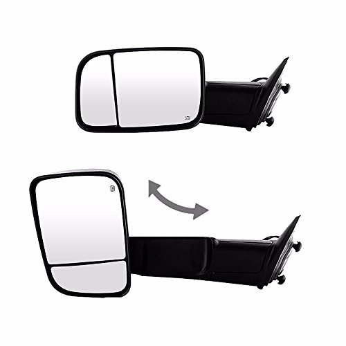 VIOJI 2x Power Heated Manual Folding Corner Turn Signal+Puddle Light blk Housing Convex Spotter Glasses/Rotate Towing Mirrors For 09-17 Dodge Ram 1500 & 10-17 Dodge Ram 2500/3500 (Not For Diesel)