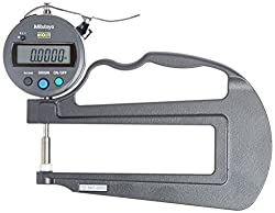 """Mitutoyo 547-520S Digital Thickness Gauge with Flat Anvil, 120mm Throat Depth, ID-S Type, Inch/Metric, 0-0.47"""" (0-12mm) Range, 0.0005"""" (0.01mm) Resolution, +/-0.001 Accuracy"""