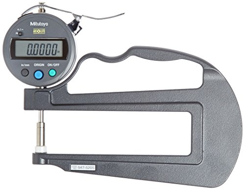 Mitutoyo 547-520S Digital Thickness Gauge with Flat Anvil, 120mm Throat Depth, ID-S Type, Inch/Metric, 0-0.47