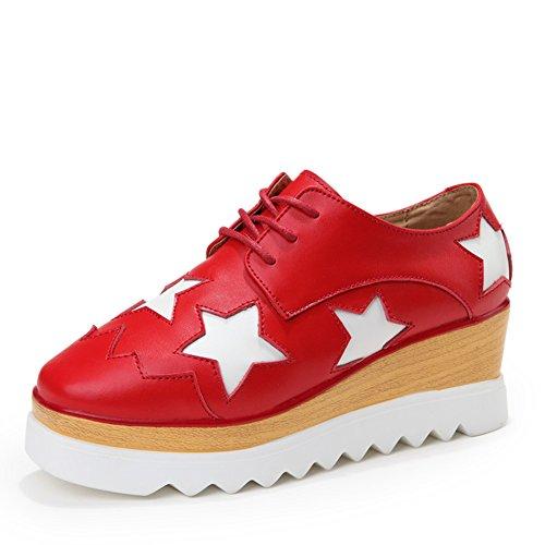 Zapatos de estrellas cuadrado/Suela gruesa plataforma zapatos de las mujeres/Zapatos planos/Zapatos del ocio Coreano/Zapatos de mujer de cuero A