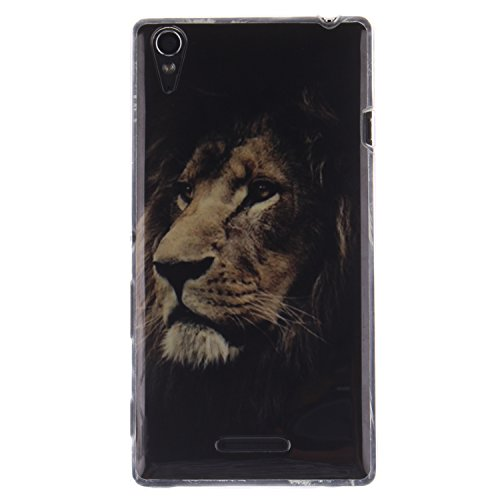 Coque Sony Xperia T3, Coffeetreehouse Housse Etui Protection Full Silicone Souple Ultra Mince Fine Slim pour Sony Xperia T3, Sony Xperia T3 Étui en TPU silicone - black Lion
