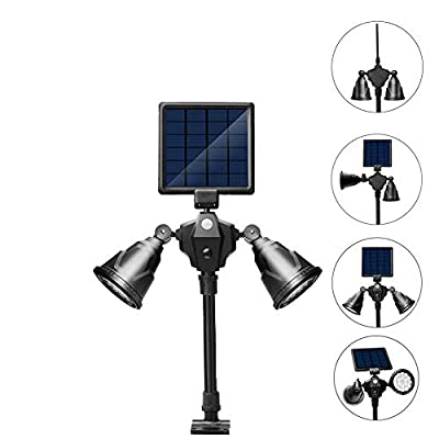 Umiwe Solar Lights,2-in-1 Waterproof Outdoor Landscape Lighting Spotlight Wall Light Motion&Dark Sensor Auto On/Off for Yard Garden Driveway Pathway Pool-Patented Product