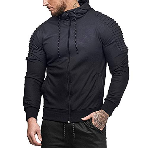 - ◕‿◕ Toponly Men Long Sleeve Splicing Patchwork Fold Hooded Top Blouse Tracksuits
