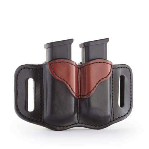 1791 Gunleather 2.2 Mag Holster - Double Mag Pouch for Double Stack Mags, OWB Magazine Pouch for belts - Black & Brown Double Mag Belt