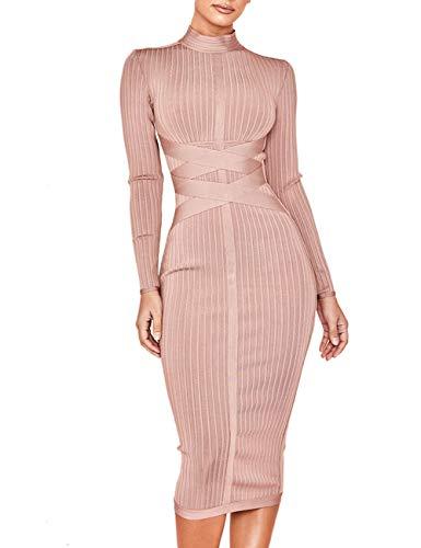 (Whoinshop Women's Cross Strap Ribbed Bandage Long Sleeve Midi Fall Winter Bodycon Party Dress (XL, Nude))
