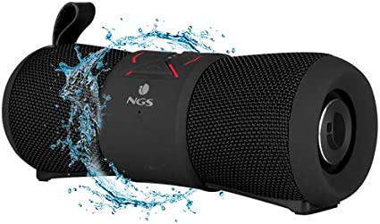 NGS Roller Stream Black - Altavoz portátil inalámbrico de 24W Compatible con Tecnología Bluetooth, True Wireless, Resistente al Agua y micrófono Integrado. Color Negro