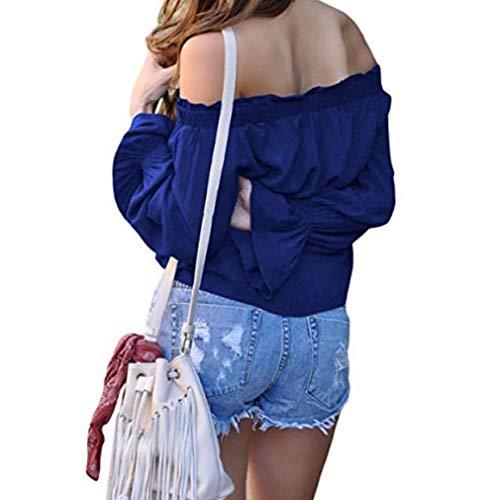 Mot en Manches Col Blouse Sexy Couleur Styles Bell Hors paule Mode Unie Multiple Color Dames Bleu Shirt Un Chemise T Mousseline Stripe I4q7xYwx0