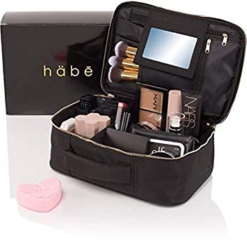 habe Travel Makeup Bag with Mirror , Premium Vegan Designer Make Up Bag  Organizer Train Case for Women , Stores More than 3 Cosmetic Bags, Make Up