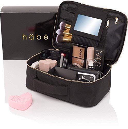 habe Travel Makeup Bag with Mirror – Premium Vegan Designer Make Up Bag Organizer Train Case for Women – Stores More than 3 Cosmetic Bags, Make Up Bags or Make Up Cases Large, Black, 11.4×7.5×3.9 in