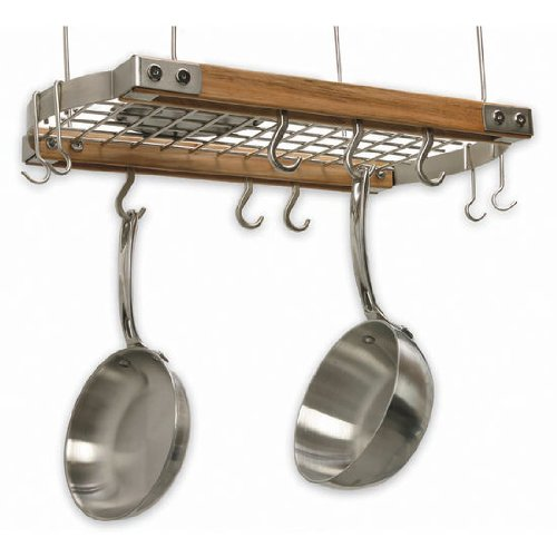 J.K. Adams 24-Inch-by-13-Inch Mini Ceiling Pot Rack, 10 Hooks Included, Natural ()