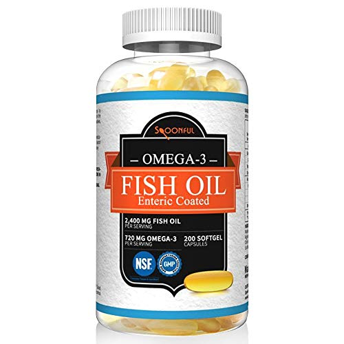 h Oil Enteric Coated 2400mg, 200 Capsules, Rapid Release Softgel Capsules, Burpless, Made in USA, NSF-Certified ()
