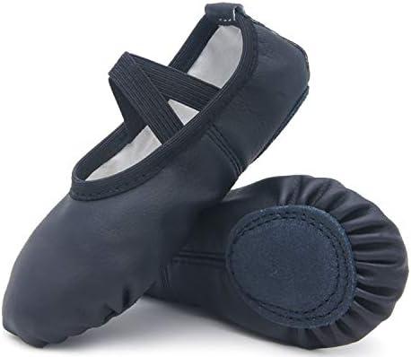 DIPUG Leather Ballet Shoes for Girls No Drawstring Ballet Slippers for Toddler Dance Shoe